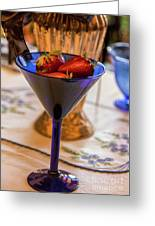 The Glass Of Strawberries Greeting Card