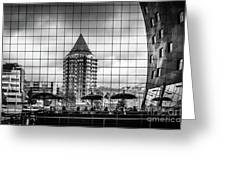 The Glass Windows Of The Market Hall In Rotterdam Greeting Card