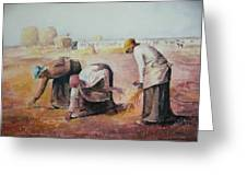 The Gleaners After Millet By My Dad Greeting Card