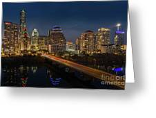 The Glimmering Neon Lights Of The Downtown Austin Skyscrapers Illuminate The Skyline Over Lady Bird Lake Greeting Card