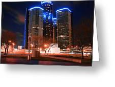 The Gm Renaissance Center At Night From Hart Plaza Detroit Michigan Greeting Card
