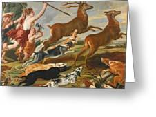 The Goddess Diana And Her Nymphs Hunting Deer Greeting Card