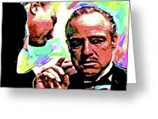 The Godfather - Marlon Brando Greeting Card by David Lloyd Glover