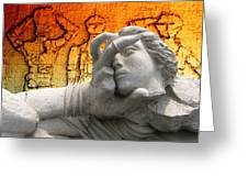 The Gods Watched In Astonishment As The Hero Battled On Against All Odds Greeting Card
