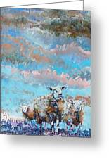 The Golden Flock - Colorful Sheep Art Greeting Card