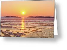 The Golden Hour And Ice Drift Greeting Card