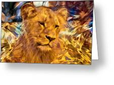 The Golden Lioness  Greeting Card