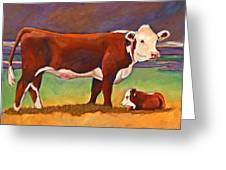 The Good Mom Folk Art Hereford Cow And Calf Greeting Card