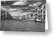 The Grand Canal Bw Greeting Card