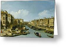 The Grand Canal Near The Rialto Bridge. Venice Greeting Card