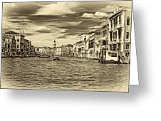 The Grand Canal - Paint Sepia Greeting Card