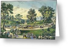 The Grand Drive, Central Park, New York, 1869 Greeting Card