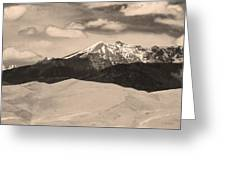 The Great Sand Dunes And Sangre De Cristo Mountains - Sepia Greeting Card