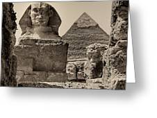 The Great Sphinx And Pyramid Of Khafre Greeting Card