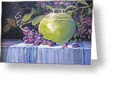 The Green Pot And Grapes Greeting Card