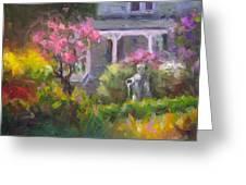 The Guardian - Plein Air Lilac Garden Greeting Card by Talya Johnson