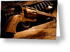 The Gun That Won The West - Sepia Greeting Card