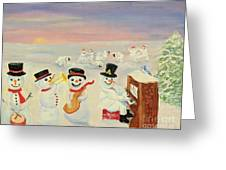 The Happy Snowman Band Greeting Card