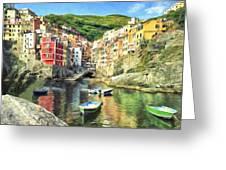 The Harbor At Rio Maggiore Greeting Card