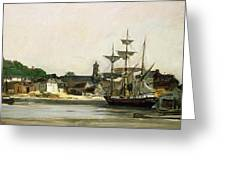 The Harbour At Honfleur Greeting Card