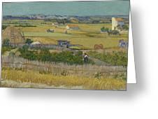 The Harvest Arles  June 1888 Vincent Van Gogh 1853  1890 Greeting Card