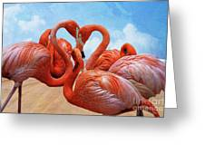 The Heart Of The Flamingos Greeting Card