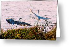 The Heron And The Egret Greeting Card