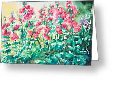 The Hollyhock Field Greeting Card