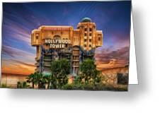 The Hollywood Tower Hotel Disneyland Greeting Card