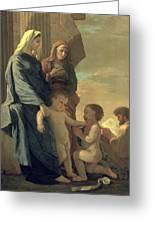 The Holy Family Greeting Card by Nicolas Poussin