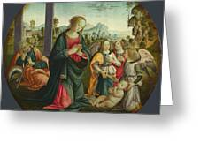 The Holy Family With Angels Greeting Card