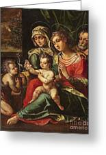 The Holy Family With Saint Anne And Saint John Greeting Card