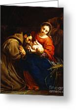 The Holy Family With Saint Francis Greeting Card