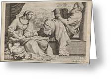 The Holy Family With Saint John The Baptist Greeting Card