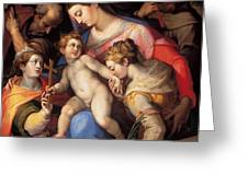 The Holy Family With St Catherine Of Alexandria, St Margaret Of Antioch And St Francis Of Assisi  Greeting Card
