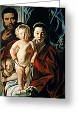The Holy Family With St. John The Baptist Greeting Card