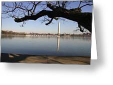 The Iced-over Tidal Basin In Mid-winter Greeting Card