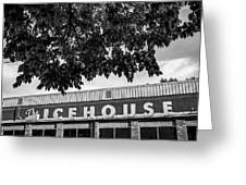 The Icehouse - Black And White - Bentonville Market District - Square Print Greeting Card