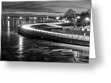 The Icy Charles River At Night Boston Ma Cambridge Black And White Greeting Card