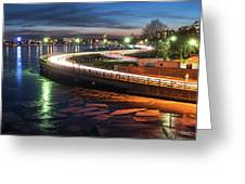 The Icy Charles River At Night Boston Ma Cambridge Greeting Card