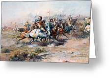 The Indian Encirclement Of General Custer At The Battle Of The Little Big Horn Greeting Card