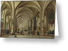 The Interior Of A Gothic Church Looking East   Greeting Card