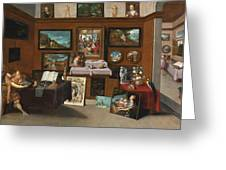 The Interior Of A Picture Gallery With Connoisseurs Admiring Paintings Greeting Card