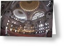The Interior Of The Suleymaniye Mosque Greeting Card by Richard Nowitz