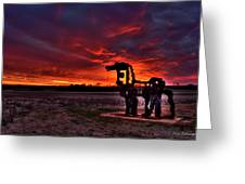 The Iron Horse Red Sky Sunset Greeting Card