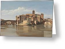 The Island And Bridge Of San Bartolomeo - Rome Greeting Card