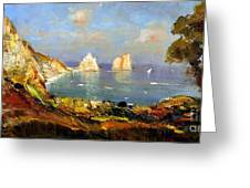 The Island Of Capri And The Faraglioni Greeting Card