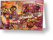 The Jazz Dimension  Greeting Card by Larry Poncho Brown