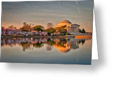 The Jefferson Memorial And Cherry Trees In Bloom Greeting Card