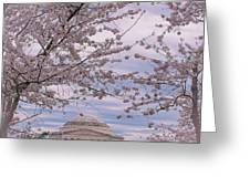 The Jefferson Memorial Attracts Large Crowds At The Cherry Blossom Festival Greeting Card
